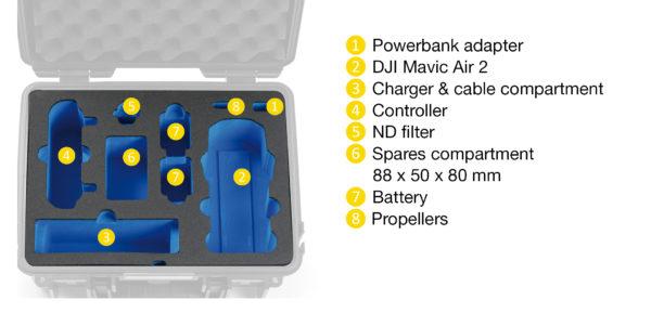 B&W Flightcase type 3000 DJI Mavic Air 2 - Indeling